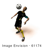 #61174 Royalty-Free (Rf) Illustration Of A 3d Soccer Player Bouncing A Ball Off Of His Chest - Version 5