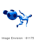 #61175 Royalty-Free (Rf) Illustration Of A 3d Soccer Player Kicking A Soccer Ball - Version 36 by Julos
