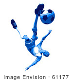 #61177 Royalty-Free (Rf) Illustration Of A 3d Soccer Player Kicking A Soccer Ball - Version 40 by Julos