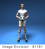 #61181 Royalty-Free (Rf) Illustration Of A 3d Soccer Player Holding A Soccer Ball - Version 1