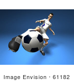 #61182 Royalty-Free (Rf) Illustration Of A 3d Soccer Player Kicking A Soccer Ball - Version 8
