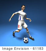 #61183 Royalty-Free (Rf) Illustration Of A 3d Soccer Player Kicking A Soccer Ball - Version 5