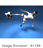 #61184 Royalty-Free (Rf) Illustration Of A 3d Soccer Player Kicking A Soccer Ball - Version 9
