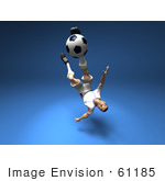 #61185 Royalty-Free (Rf) Illustration Of A 3d Soccer Player Kicking A Soccer Ball - Version 11