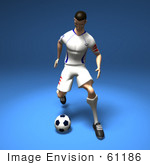 #61186 Royalty-Free (Rf) Illustration Of A 3d Soccer Player Kicking A Soccer Ball - Version 4