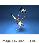 #61187 Royalty-Free (Rf) Illustration Of A 3d Soccer Player Kicking A Soccer Ball - Version 10