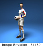 #61189 Royalty-Free (Rf) Illustration Of A 3d Soccer Player Holding A Soccer Ball - Version 2