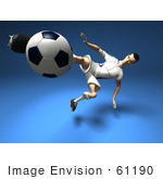 #61190 Royalty-Free (Rf) Illustration Of A 3d Soccer Player Kicking A Soccer Ball - Version 12