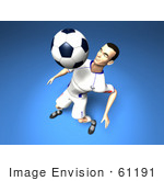 #61191 Royalty-Free (Rf) Illustration Of A 3d Soccer Player Bouncing A Ball Off Of His Chest - Version 4
