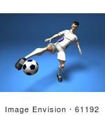 #61192 Royalty-Free (Rf) Illustration Of A 3d Soccer Player Kicking A Soccer Ball - Version 6
