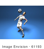 #61193 Royalty-Free (Rf) Illustration Of A 3d Soccer Player Bouncing A Ball Off Of His Chest - Version 3
