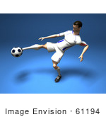 #61194 Royalty-Free (Rf) Illustration Of A 3d Soccer Player Kicking A Soccer Ball - Version 7