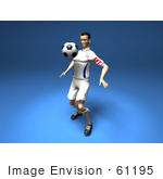 #61195 Royalty-Free (Rf) Illustration Of A 3d Soccer Player Bouncing A Ball Off Of His Chest - Version 2