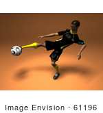 #61196 Royalty-Free (Rf) Illustration Of A 3d Soccer Player Kicking A Soccer Ball - Version 2