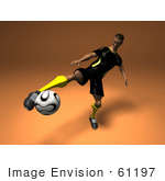 #61197 Royalty-Free (Rf) Illustration Of A 3d Soccer Player Kicking A Soccer Ball - Version 3