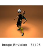 #61198 Royalty-Free (Rf) Illustration Of A 3d Soccer Player Bouncing A Ball Off Of His Chest - Version 1