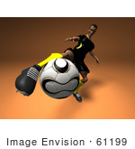 #61199 Royalty-Free (Rf) Illustration Of A 3d Soccer Player Kicking A Soccer Ball - Version 1