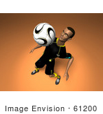 #61200 Royalty-Free (Rf) Illustration Of A 3d Soccer Player Bouncing A Ball Off Of His Chest - Version 12