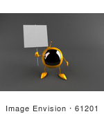 #61201 Royalty-Free (Rf) Illustration Of A 3d Yellow Square Tv Character Holding Up A Blank Sign - Version 1