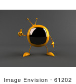 #61202 Royalty-Free (Rf) Illustration Of A 3d Yellow Square Tv Character Giving The Thumbs Up - Version 2