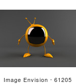 #61205 Royalty-Free (Rf) Illustration Of A 3d Yellow Square Tv Character Facing Front - Version 2