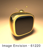 #61220 Royalty-Free (Rf) Illustration Of A 3d Gold Retro Tv - Version 2
