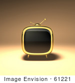 #61221 Royalty-Free (Rf) Illustration Of A 3d Gold Retro Tv - Version 1