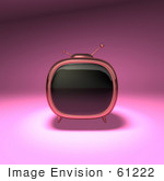 #61222 Royalty-Free (Rf) Illustration Of A 3d Pink Retro Tv - Version 1