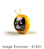 #61231 Royalty-Free (Rf) Illustration Of A 3d Yellow Smiling Television Mascot - Version 2