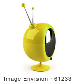 #61233 Royalty-Free (Rf) Illustration Of A 3d Yellow Round Retro Tv - Version 6