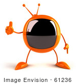 #61236 Royalty-Free (Rf) Illustration Of A 3d Orange Square Tele Mascot Giving The Thumbs Up