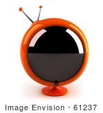 #61237 Royalty-Free (Rf) Illustration Of A 3d Orange Round Retro Television - Version 1