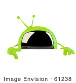 #61238 Royalty-Free (Rf) Illustration Of A 3d Green Square Tv Mascot Pointing Down And Standing Behind A Blank Sign