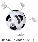 #61241 Royalty-Free (Rf) Illustration Of A 3d Soccer Ball Character Doing A Hand Stand And Smiling