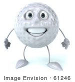 #61246 Royalty-Free (Rf) Illustration Of A 3d Golf Ball Character Facing Front