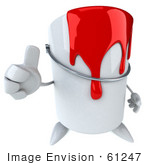 #61247 Royalty-Free (Rf) Illustration Of A 3d Dripping Paint Can Character Giving The Thumbs Up