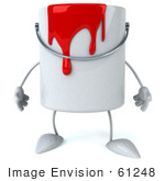 #61248 Royalty-Free (Rf) Illustration Of A 3d Dripping Paint Can Character Facing Front