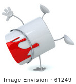 #61249 Royalty-Free (Rf) Illustration Of A 3d Dripping Paint Can Character Doing A Hand Stand