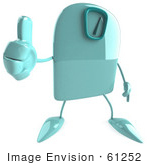 #61252 Royalty-Free (Rf) Illustration Of A 3d Green Foot Scale Character Holding A Thumb Up
