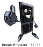 #61255 Royalty-Free (Rf) Illustration Of A Slim 3d Cellular Phone Character Holding A Thumb Up