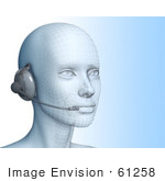 #61258 Royalty-Free (Rf) Illustration Of A 3d Customer Service Representative Wearing A Headset - Version 1