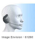 #61260 Royalty-Free (Rf) Illustration Of A 3d Customer Service Representative Wearing A Headset - Version 4