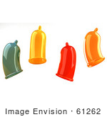 #61262 Royalty-Free (Rf) Illustration Of Four Colorful 3d Condoms