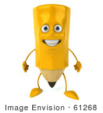 #61268 Royalty-Free (RF) Illustration Of A 3d Yellow Pencil Character Standing And Facing Front by Julos