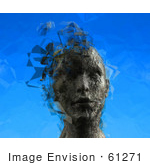 #61271 Royalty-Free (Rf) Illustration Of A 3d Female Head With Floating Particles - Version 3