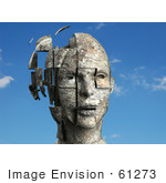 #61273 Royalty-Free (Rf) Illustration Of A 3d Female Head With Floating Particles - Version 1
