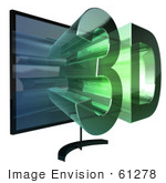#61278 Royalty-Free (RF) Illustration Of A 3D TVWith 3d Emerging From The Screen - Version 3 by Julos