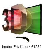 #61279 Royalty-Free (Rf) Illustration Of A 3d Tvwith 3d Emerging From The Screen - Version 4