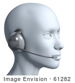 #61282 Royalty-Free (Rf) Illustration Of A 3d Customer Service Rep Wearing A Headset - Version 8