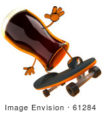 #61284 Royalty-Free (Rf) Illustration Of A 3d Root Beer Character Skateboarding - Version 4